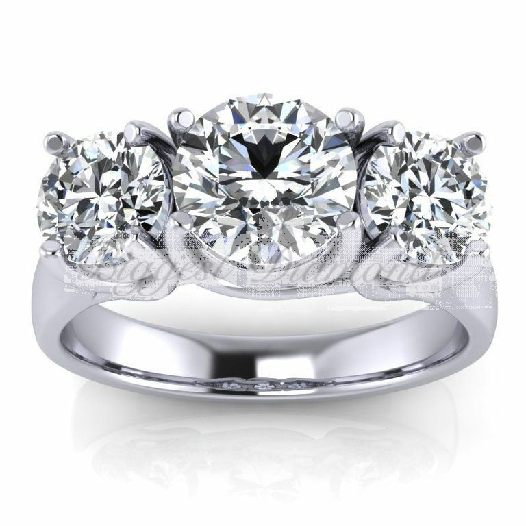 Round Cut Diamond Engagement Ring 07525 Carat 4 Prongs 3 Stones In White Or Yellow Gold