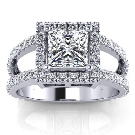 Princess Cut Diamond Engagement Ring Carat 4 Prongs More Stones In White Or Yellow Gold 14kt Or 18kt A Touch 368